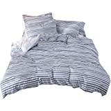 Merryfeel Seersucker Duver Cover Set,100% Cotton Woven Seersucker Stripe Bedding Set,3 Pieces (Comforter Cover with 2…