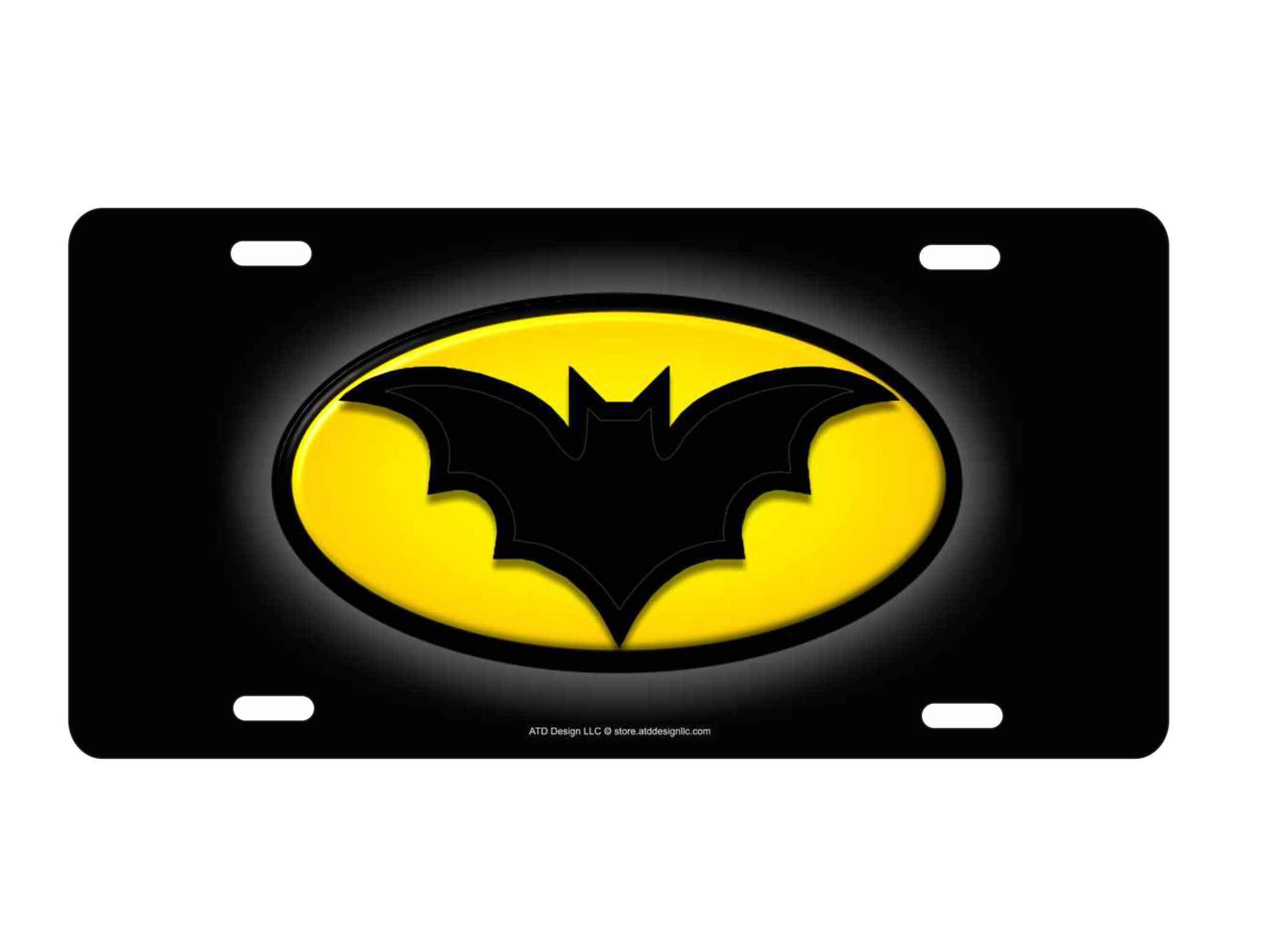 ATD Novelty License Plate Batmobile Printed Bat Logo Not 3D, Not Embossed, Not Raised