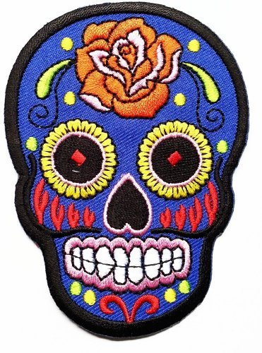 Pheonix Cartoon Blue Sunny Buick Rose Sugar Skull Patch Embroidered Iron on Hat Jacket Hoodie Backpack Ideal Gift/6.5cm(w) X 9cm(h)