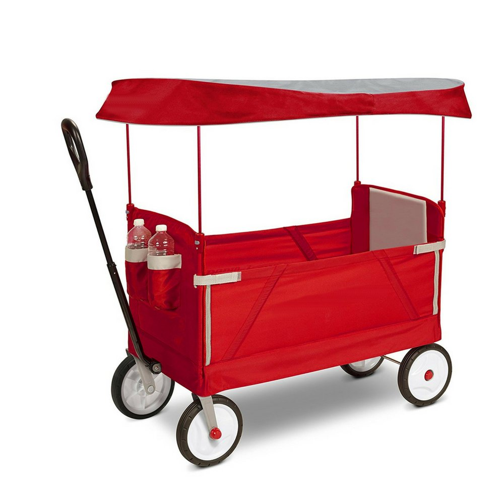 Outdoor Wagon for Kids Foldable with Canopy Transport Cargo 2 Rider Seating & Bench Seating Padded Seat Cushion 2 Cup Holders Handle for Easy Transport Bench Seating Easy Storage & eBook by BADAshop