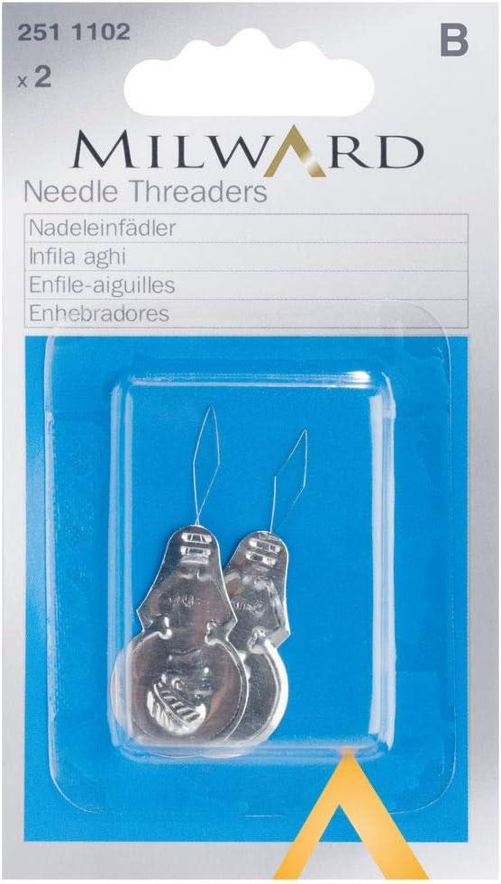 Milward Mercería Tarjeta SB con Enhebrador De Aguja, Embalaje: 2 Piezas Silber, 12cm x 7cm x 1cm
