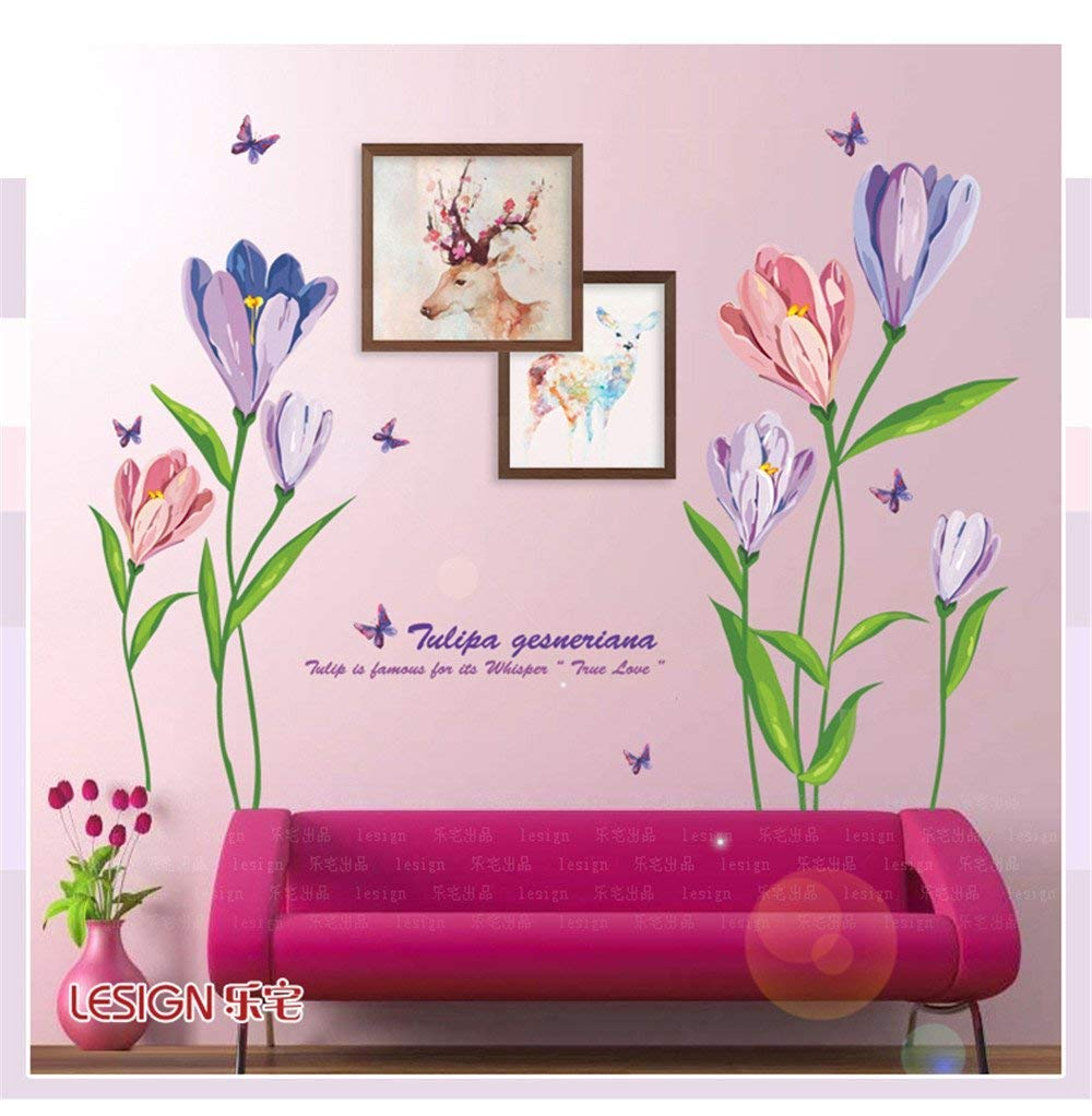 Decorate Your Home The Romantic Marriage Room Bedroom Bed Decorated with Posters and Cozy Sofas in The Living Room TV Wall Stickers Purple Tulip