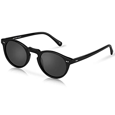 bb1ed13f90 USKEYVISION Polarized Sunglasses Retro Round Acetate Sun Glasses High  Clarity UV400 Protection Lens Sunglasses(UV1430)