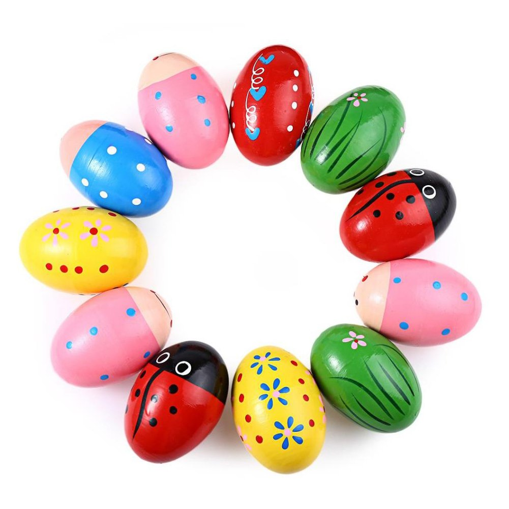 Kanggest Wooden Toys Sand Eggs Kids Musical Toys Cute Early Childhood Education Toys Kid Months Play Toy Colorful Teaching Toy Developmental Toy Baby Kids (Random Color)
