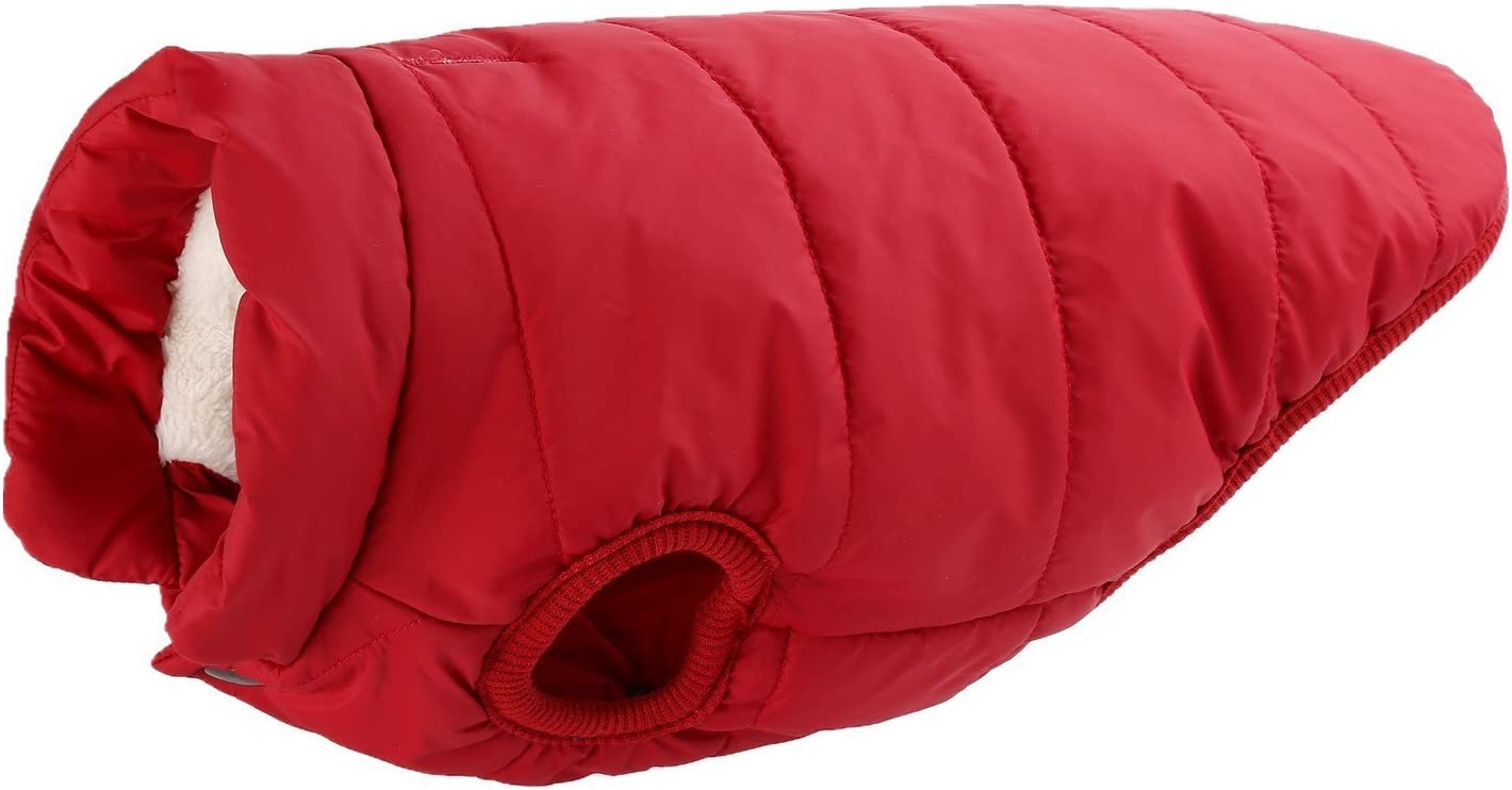 Tineer Dog Warm Winter Coat XS, Orange Cozy Fleece Cold Weather Dog Jacket Puppy Vest Lined Coat Clothes Warm Padded Clothes for Small Medium Dogs