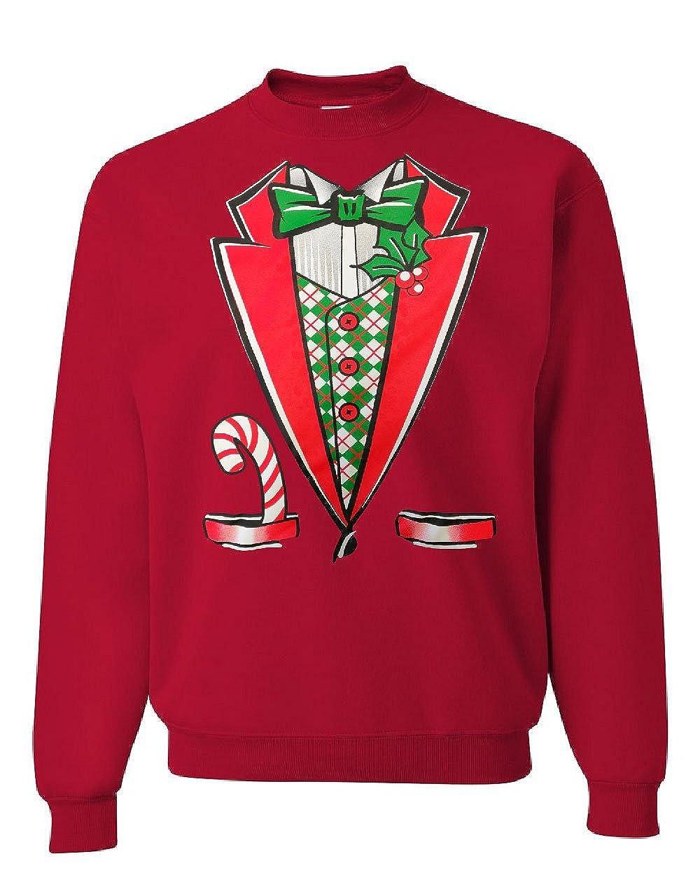 Christmas Tuxedo Crew Neck Sweatshirt Funny Xmas Santa Elf 100606-CS