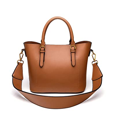 99065a3714 Mn Sue Women Top Handle Satchel Dual Use PU Leather Handbag Wide Strap Crossbody  Tote Bag with Pouch (Brown)  Handbags  Amazon.com