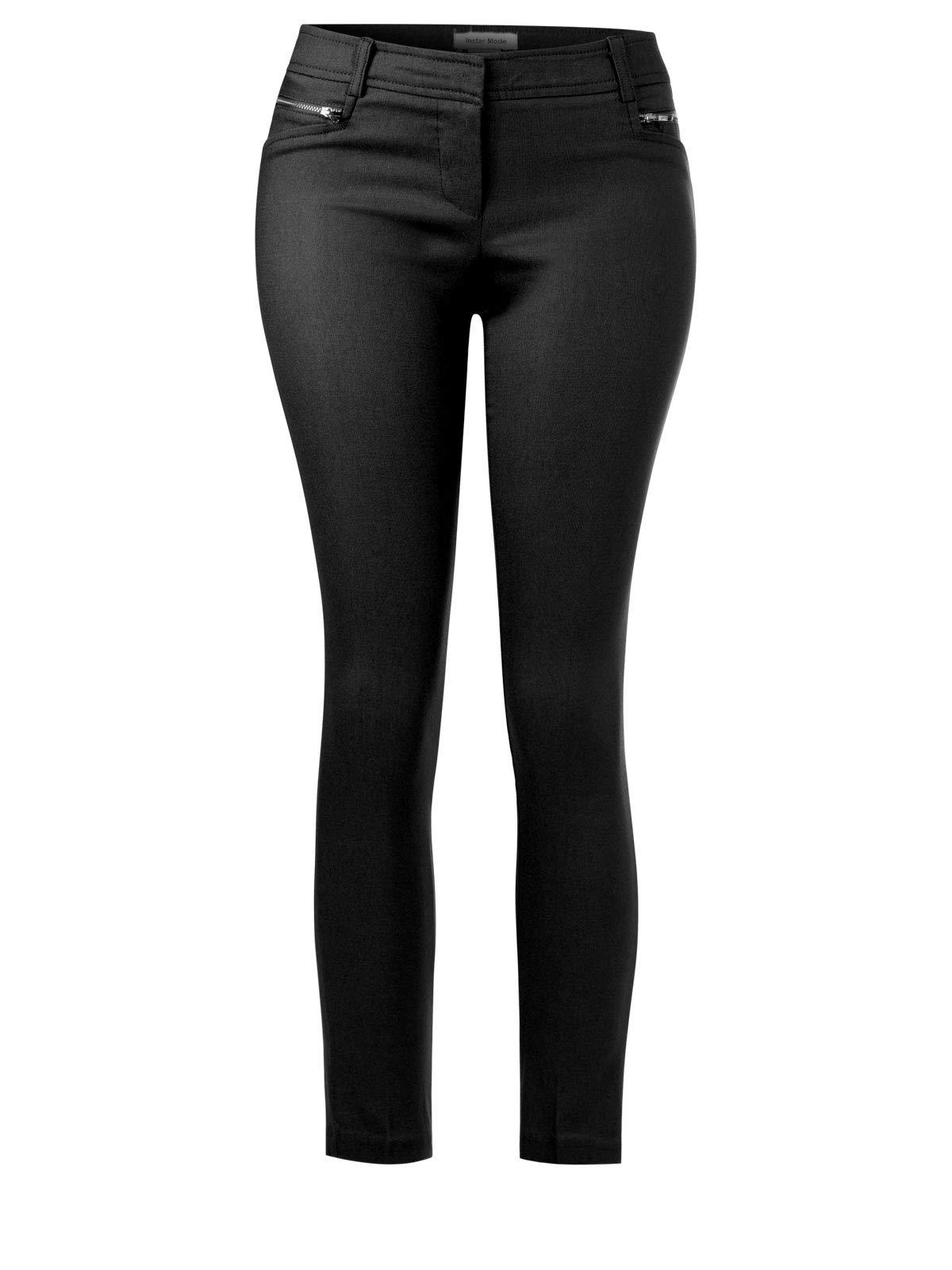 Instar Mode Women's Solid Full Length Formal Pants Black 2XL