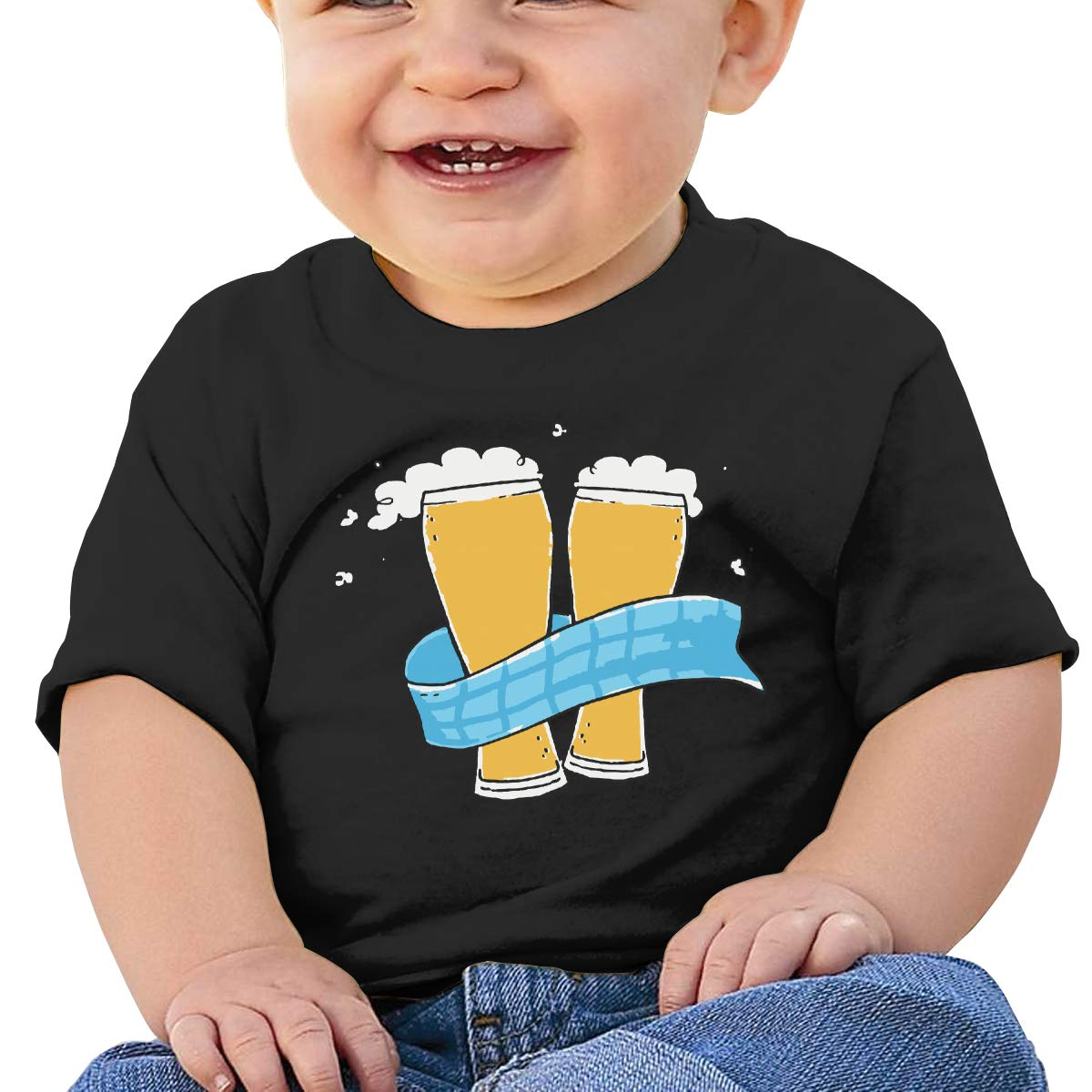 Beer and Oktoberfest Baby Girls Newborn Short Sleeve Tee Shirt 6-24 Month Soft Tops