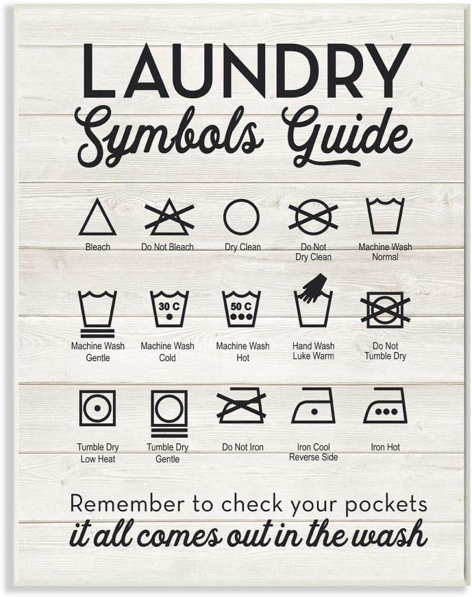 Stupell Industries Laundry Symbols Guide Typography Wall Plaque, 10 x 15, Design By Artist Lettered and Lined