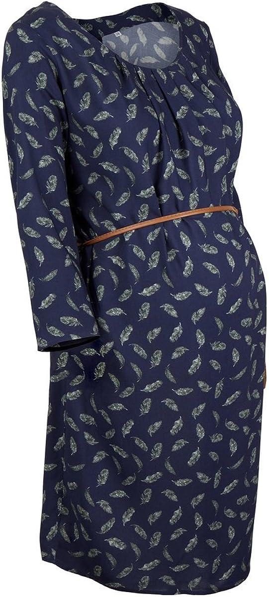 2HEARTS Umstands-Kleid Cosy /& Wild//gemustertes Schwangerschaftskleid mit Bindeg/ürtel//Black iris All Over Print