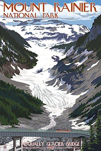 (Mount Rainier National Park, Washington - Nisqually Glacier and Red Bus (16x24 Fine Art Giclee Gallery Print, Home Wall Decor Artwork Poster))