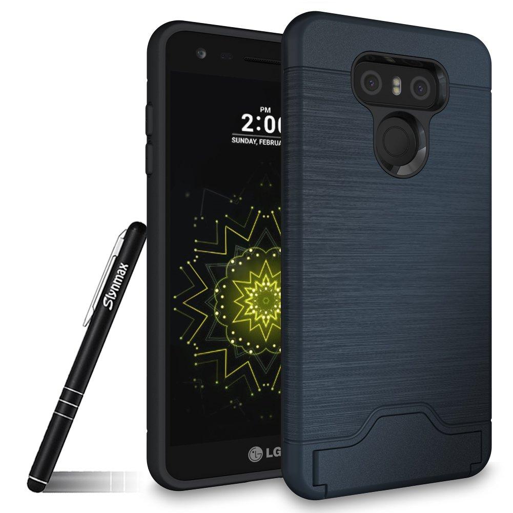 LG G6 Hü lle Silikon, Slynmax Ultradü nn Hart PC Rü ckschale Cover Schutzhü lle Flexibel TPU Silikon Hü lle Rubber Bumper Handy Rü ckseite Dual Layer Anti-Scratch Case mit Stä nder Kickstand Kartenfach Schlanke Stoß