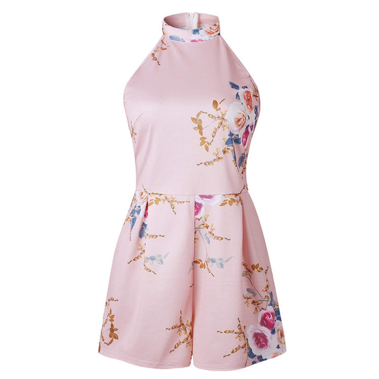 Summer Women 2019 High Neck Floral Mini Playsuit Ladies Summer Shorts Jumpsuit 8.30