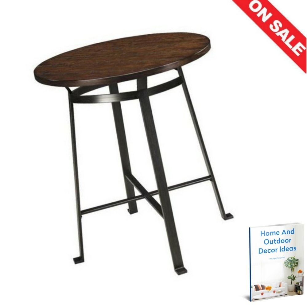 Amazon com mid century pub table height round decor rustic metal classic bistro portable industrial indoor corner furniture ebook by easy2find