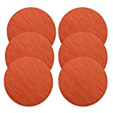 U'Artlines 14 Inch Round Place Mat for Kithen Table Heat Insulation Stain-resistant Washable Vinyl Placemats Set of 6 (Round, Orange)