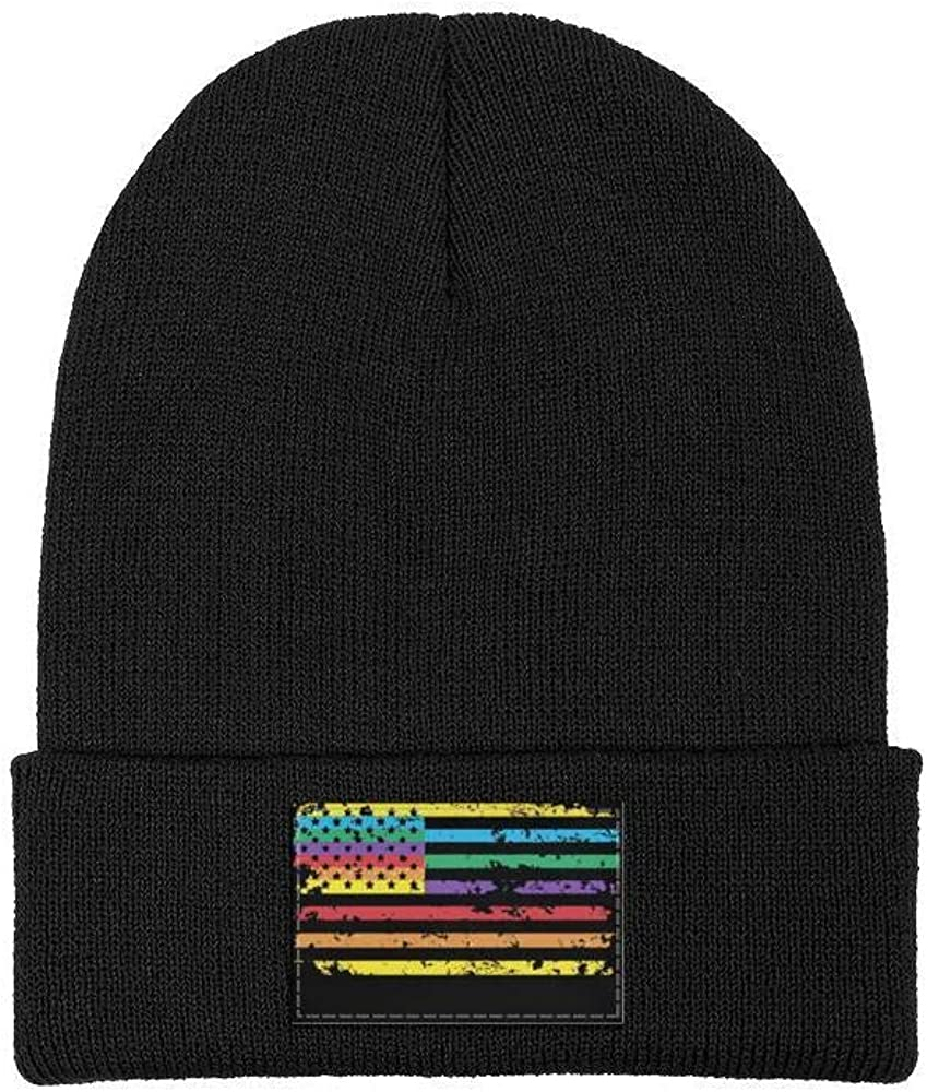 Mens Slouchy Beanie Hat Winter Hats Rainbow American Flag Gay Lesbian Warm Cap