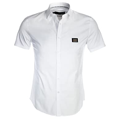d00e9dac3095d MOSCHINO Chemise Casual - Homme Blanc Bianco S  Amazon.fr  Vêtements ...