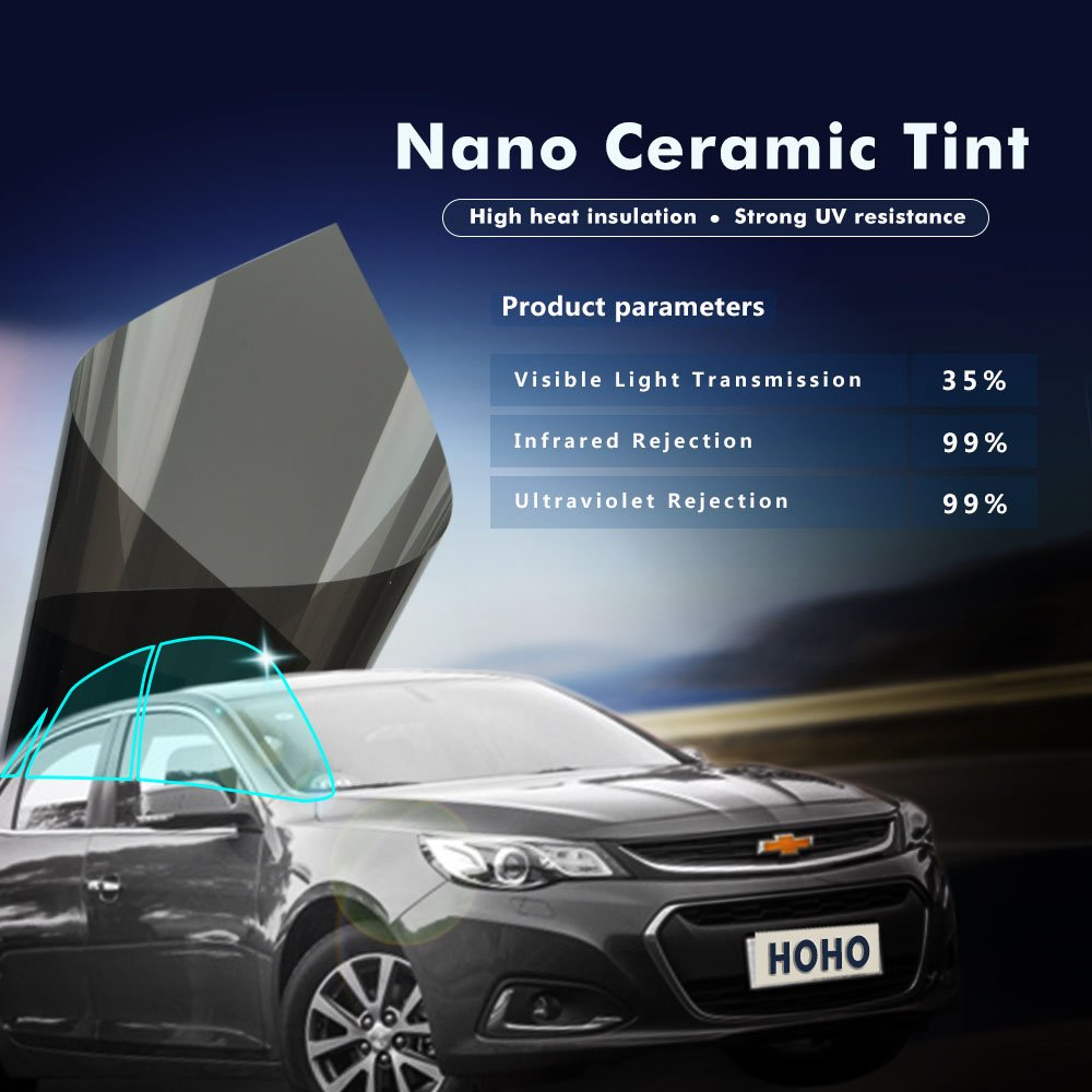 HOHO VLT 35% 4Mil Black Nano Ceramic Solar Film Window Tint Privacy Glass UV99% for Car,Home Window,152cmx3000cm by HOHO (Image #4)