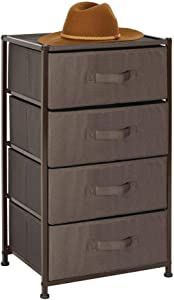 mDesign Vertical Furniture Storage Tower - Sturdy Steel Frame, Easy Pull Fabric Bins - Organizer Unit for Bedroom, Hallway, Entryway, Closets - Textured Print - 4 Drawers - Espresso Brown
