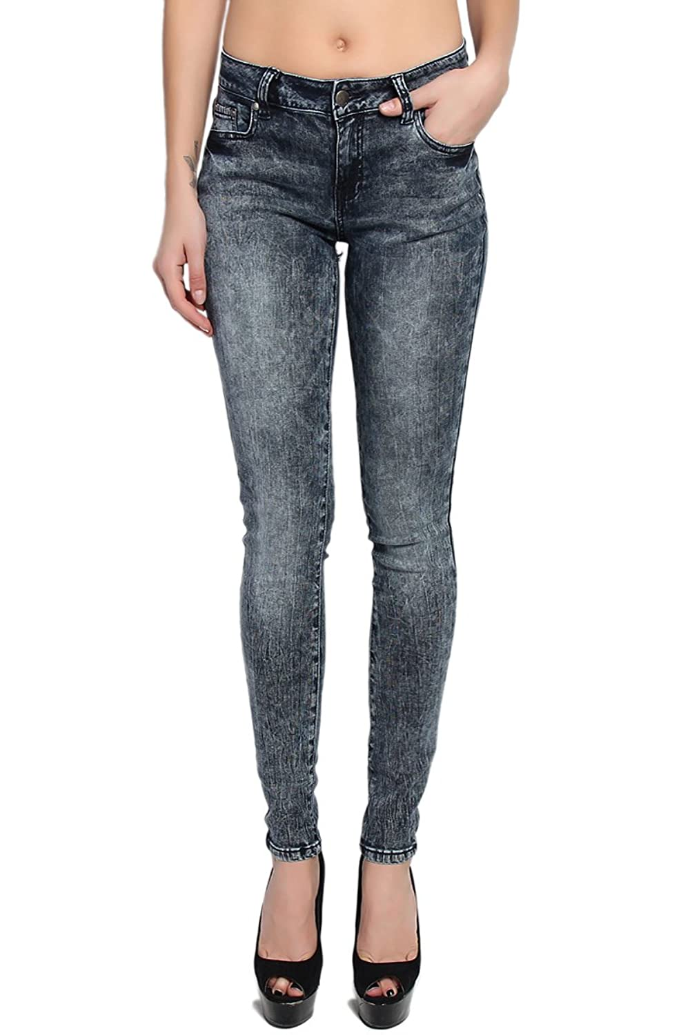 TheMogan Women's Dark Acid Wash Mid Rise Cloudy Ankle Skinny Jeans