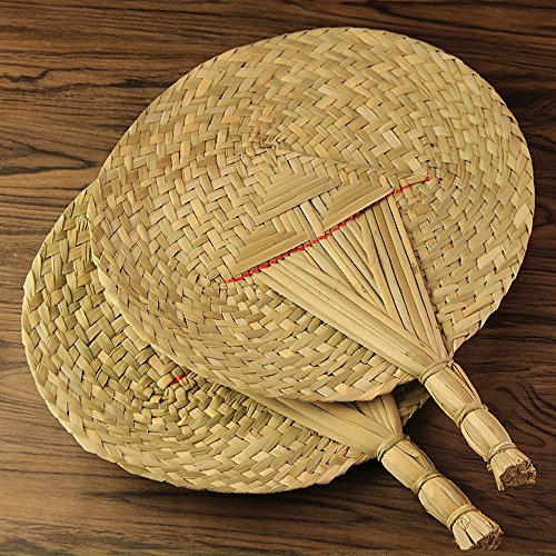 kbxstart Hand-Woven Fan,Chinese Style Natural Palm Leaf Manual Fan for Summer Wedding Favor Fans for Cooling Summer and Beach Wedding Party