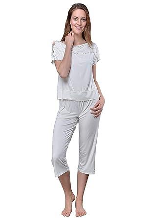promo code 5648a 3ec9a Raikou Damen VISKOSE Shirt + 3/4 Hose Schlafanzug Sommer Pyjama Set  Nachtwäsche mit Volants und elastischem Bund