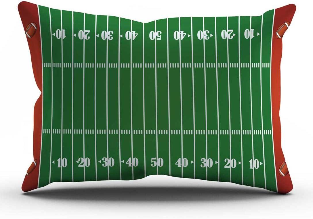 DECOPOW Football Field Throw Pillow Cover,Football Decor Cotton Linen Throw Pillow Case 12X20 Inches (Football Field)