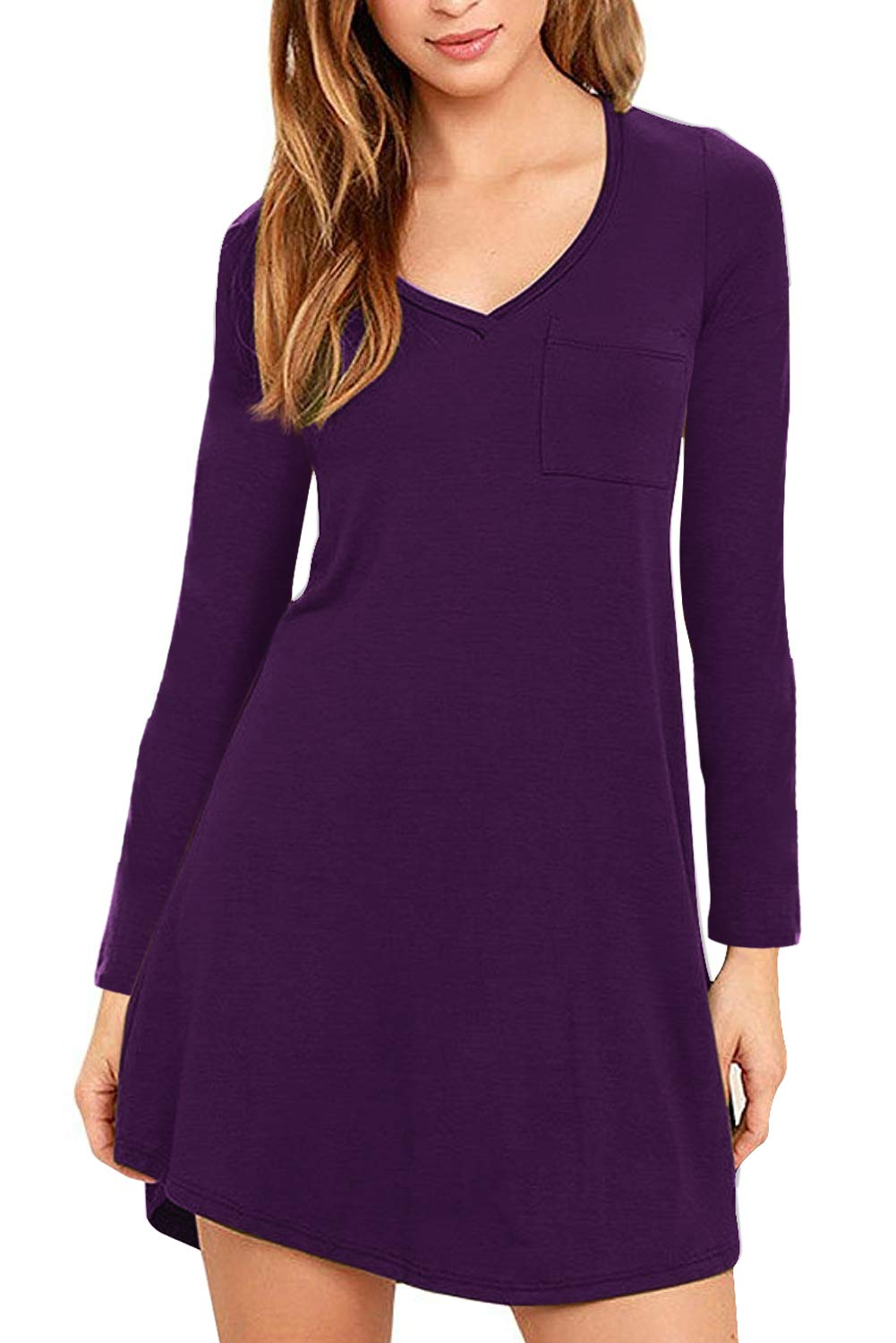 Eanklosco Womens Casual Short Sleeve Plain Pocket V Neck T Shirt Tunic Dress (Purple-1, L)