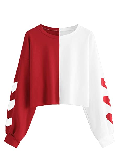 ab0d9bd017 SheIn Women's Casual Cute Color Block Print Long Sleeve Top Crew Neck  Sweatshirt Small White and