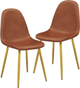 GreenForest Dining Chairs Set of 2, Mid Century Modern PU Leather Upholstered Side Chair for Indoor Kitchen Living Room,with Metal Legs,Brown