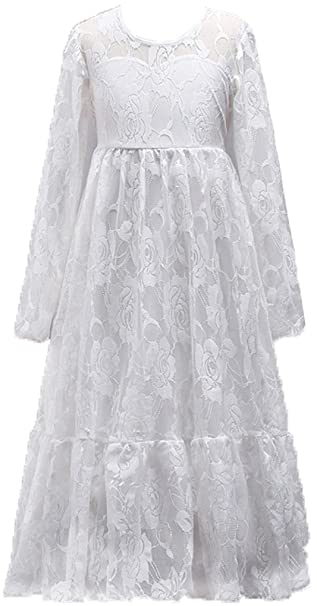 Shiny Toddler Vestido Largo Fiesta para Chicas 7 a 8 Blanco