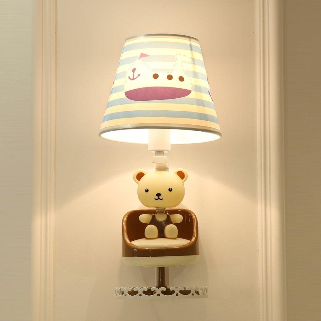 子供の寝室ベッドサイドランプ漫画かわいい熊回転音楽の壁のランプクリエイティブな近代的なミニマリスト装飾的なランプ読書ランプの壁ランプ   B07KPKPXQB