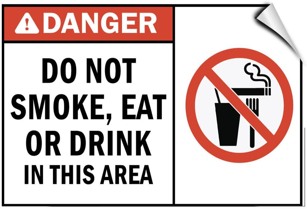 Danger Do Eat or Drink in This Area Sign Sticker