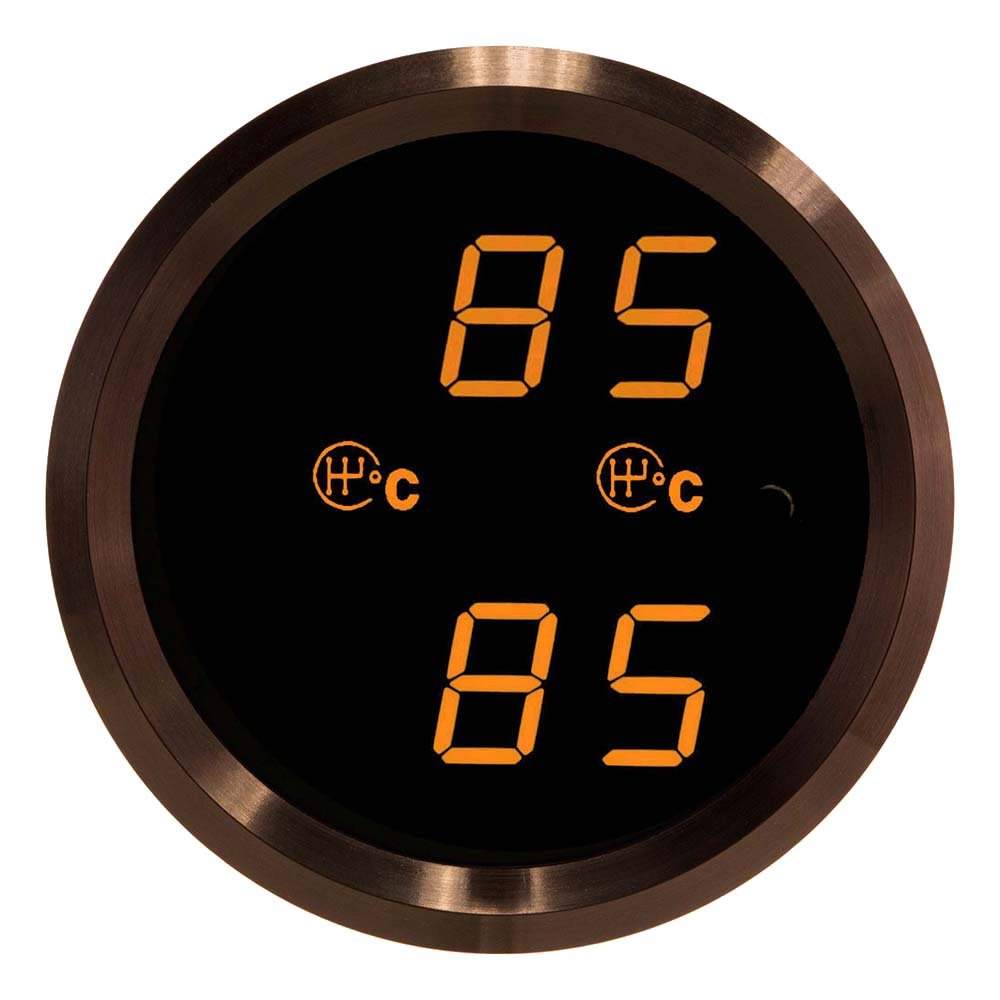 VEI Systems Dual-Display gauge: Dual 160 deg-C transmission temperature gauge (red/silver)