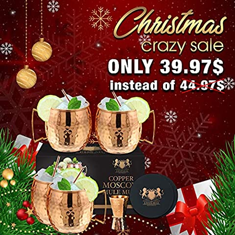 Moscow Mule Mugs – Set of 4-100% HANDCRAFTED – Food Safe Pure Solid Copper Mugs – 16 oz Gift Set