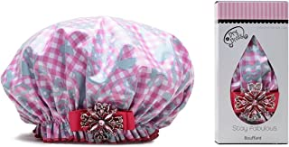 product image for Dry Divas Designer Shower Cap For Women - Washable, Reusable - Large Bouffant Cap With Vintage Jeweled Brooch (Glorious Gingham)