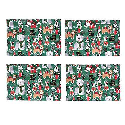 Newbridge Whimsical Christmas Dogs Fabric Holiday Placemats - Cute Christmas Puppies in Hats and Scarves for The Holidays, Placemats, Set of 4 Reversible Placemats (Sale Christmas Placemats)