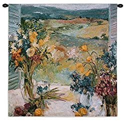 Fine Art Tapestries Tuscany Floral Small Wall Tapestry 2630-wh 35 Inches Wide By 35 Inches Long, Cotton