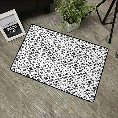 Interior door mat W16 x L24 INCH Black and White,Monochrome Floral Arrangement with Abstract Swirl Leaves Spring Season,Black White Natural dye printing to protect your baby's skin Non-slip Door Mat C ()