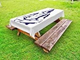 Ambesonne Ethnic Outdoor Tablecloth, Abstract Display of Ethnic Religious Figure in Lotus Position Meditation Peace, Decorative Washable Picnic Table Cloth, 58 X 120 inches, Dark Blue White