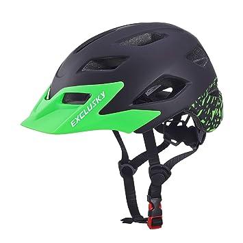 Exclusky Casco da Bicicleta para Niños Infantil Ciclismo Casco Ciclismo de Seguridad Ajustable 50-57cm (Edades 5-13) (Negro): Amazon.es: Deportes y aire ...