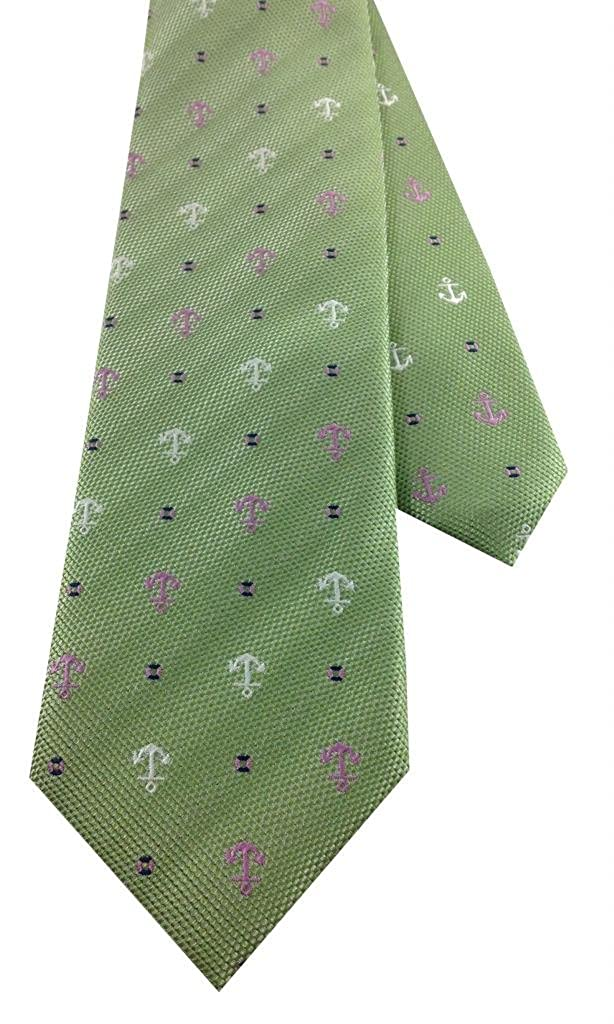Green with Upside Down Anchor Design Boys Necktie