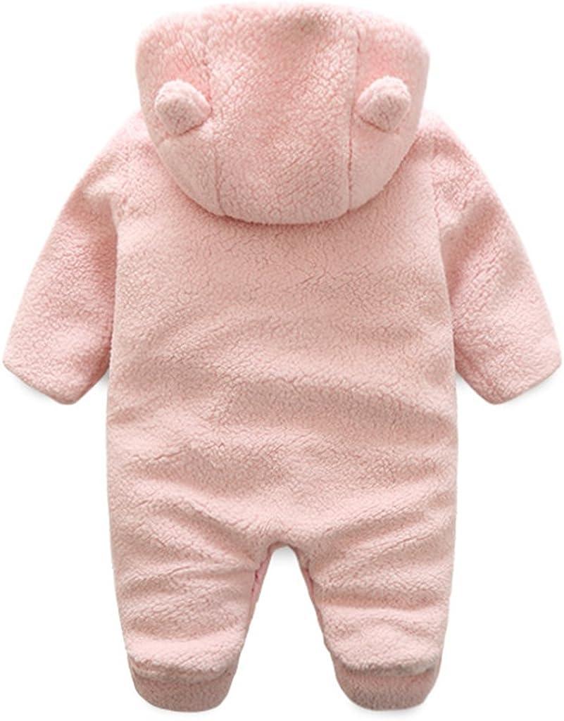 Newborn Baby Hooded Fleece Romper Snowsuit Infant Onesies Jumpsuit Fall Winter Outwear Outfits