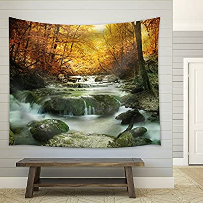 Rocky Waterfall in The Forest During Fall Time, Crafted to Perfection, Stunning Print