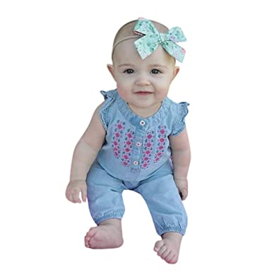 4e5269c83287 CHshe Toddler Infant Kids Girls Blue Floral Princess Embroidery Denim  Sleeveless Summer Romper Jumpsuit Party Outfits Clothes for 0-24 Months   Amazon.co.uk  ...