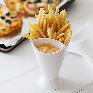 clkjdz utensilios de cocina patatas fritas cono con copa para salsas frito patata Herramienta Vajilla: Amazon.es: Hogar