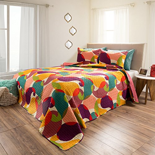 2 Piece Girls Medallion Geomtric Pattern Quilt Twin Set, Beautiful All Over Girly Boho Chic Colorful Abstract Artistic Embossed Motif Pattern, Hippie Indie Style, Vibrant Colors, Polyester by OS (Image #1)