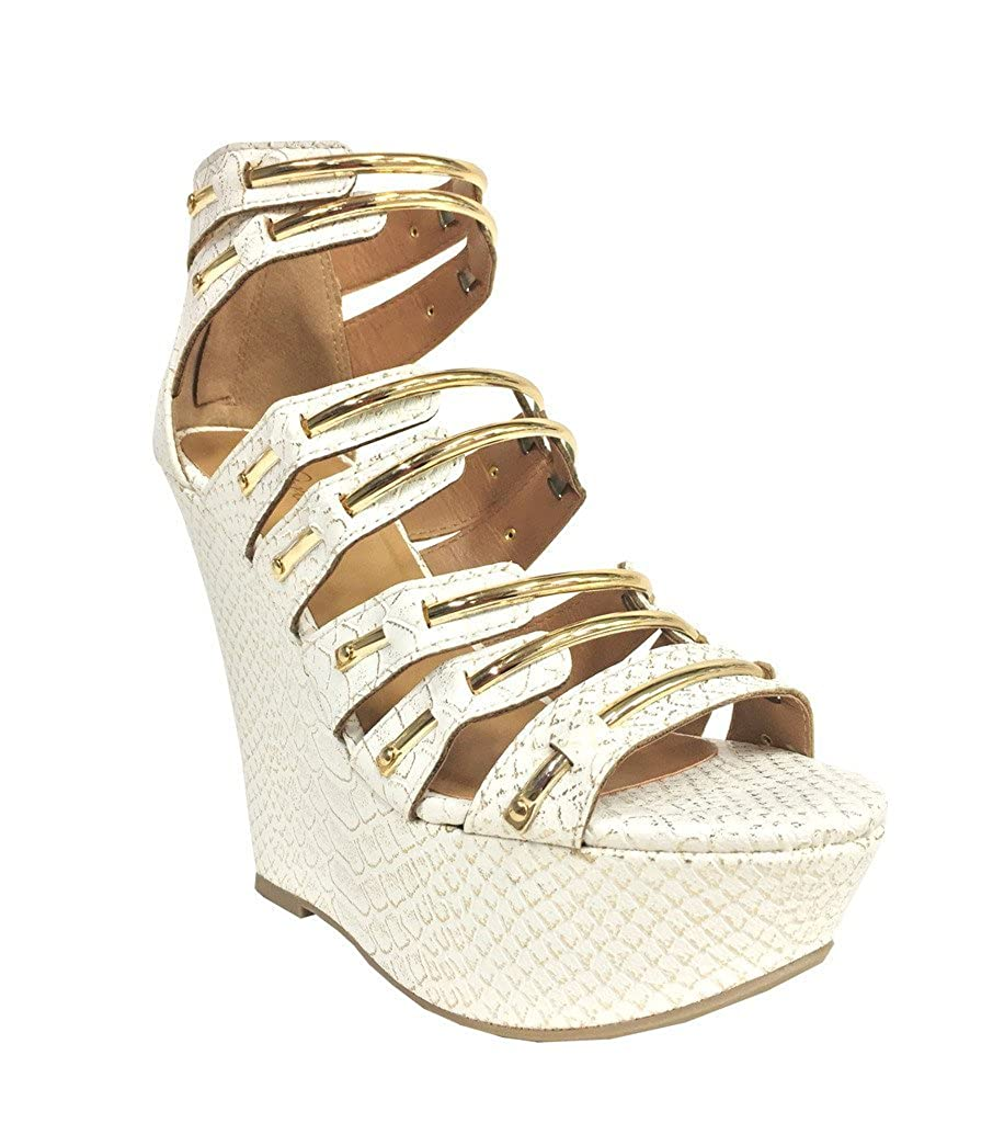 GLUTEN! Women's Gold Metallic Jelly Bar Cage Wedge Sandals in White Snake Leatherette B00SLWBOUO 5.5 B(M) US