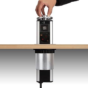 3 Compartimento mesa enchufe regleta retráctil con 2 USB Enchufe ...